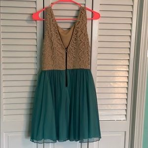 Dresses - Teal and Tan Homecoming Dress